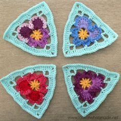 Look At What I Made | Grannys Crochet Pansy Triangle & Bunting #freecrochetpattern #stashbuster