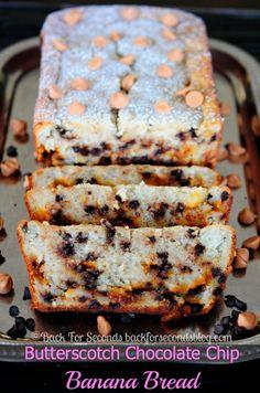 Chocolate Chip Butterscotch Banana Bread - BEST banana bread I've evr had!! #bananabread #bananacake #quickbreadrecipe