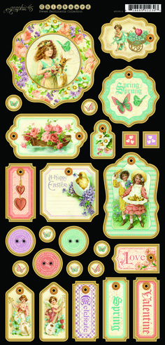 Sweet sentiments chipboard tags. In stores in mid-November 2013! #graphic45 #newcollections. Labels, tags buttons, you name it & it's here