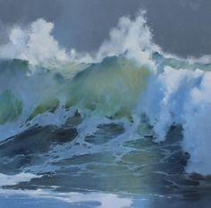 "Richard Johnson ""Rising"" 60x60 oil on canvas. #richardjohnson #addisongallery #ocean #seascapes"