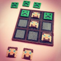 Minecraft Tic-tac-toe game perler beads by chittyqy