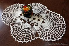 Hand crocheted oval doily for sale. Excellent accent for home table decorations. Can be a lovely gift for someone special.  Finished