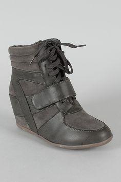 Dana-04 High Top Velcro Lace Up Wedge Sneaker