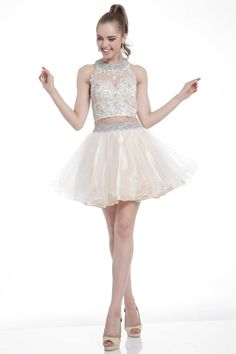 Homecoming Mini Dress CD8798 Short Two Parts Set Homecoming and Cocktail Dress has High Neck with see Thru Insert and Fully Beaded Collar featuring Floral Embroidery Appliques and Detail Beading on Bodice, Layered Ruffle Tulle Skirt and Satin Underskirt. https://www.smcfashion.com/wholesale-homecoming-dresses/homecoming-mini-dress-cd8798