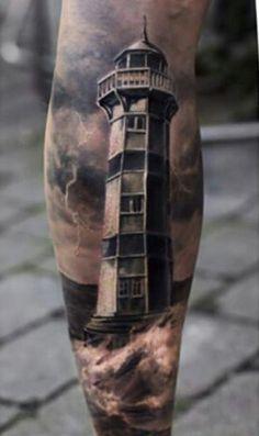 Hyperrealism Lighthouse Tattoo by LG Tattoo