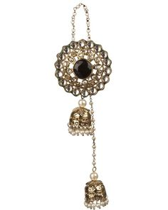 Traditional Floral Style Black Stone Kashmiri Jhumkis  | Rs. 2,070 | http://voylla.com