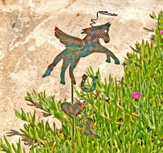 Horse Stake / Metal Garden Art / Pet Memorial / Copper Art / Yard Art / Angel Decoraton / Horse Sculpture / Farm Animal / Pet Lovers