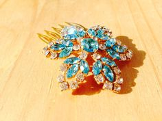 Winter Vintage Blue Snowflake Flower by sthingoldsthingnew on Etsy