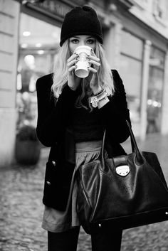 Pretty much, what I LOVE, in the winter!  tights, great blazer, cool bag, snuggy warm hat, multiple bracelets on the left wrist (no watch please, too predictable, coffee & dark polish!