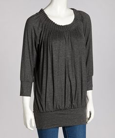 Take a look at this Charcoal Gathered Three-Quarter Sleeve Top by Coupé on #zulily today!