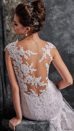 ira koval 2017 bridal cap sleeves sweetheart neckine heavily embellished lace bodice elegant mermaid wedding dress lace back chapel train (608) zbv