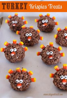 TURKEY KRISPIES TREATS. (Makes approx.10, depending on the size ) 3 T. Butter 1/2 t. vanilla extract 5 1/2 c. mini marshmallows 6 cups Cocoa Krispies cereal candy corns & edible googly eyes 1/2 batch of Chocolate Buttercream Frosting www.idigpinterest.com