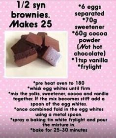 Half Syn Brownies :) astuce recette minceur girl world world recipes world snacks Slimming World Brownies, Slimming World Deserts, Slimming World Puddings, Slimming World Tips, Slimming World Recipes Syn Free, Slimming Eats, Slimming World Taster Ideas, Syn Free Food, Syn Free Snacks