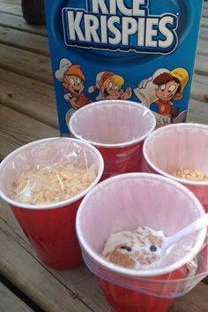 For a quick and easy camping breakfast, put ziplock bags full of your favorite cereal bowl inside of disposable cups!