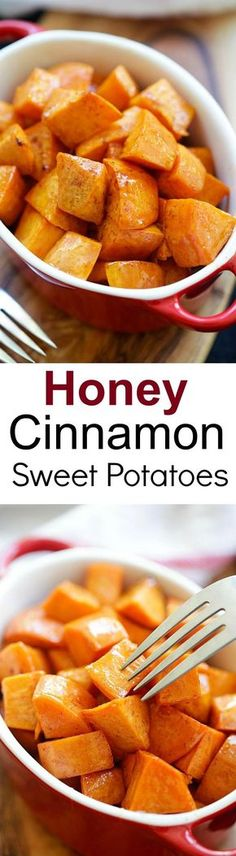 Honey Cinnamon Roasted Sweet Potatoes – the best fall and Thanksgiving side dish that everyone can't stop eating. Easy peasy and fool-proof | http://rasamalaysia.com