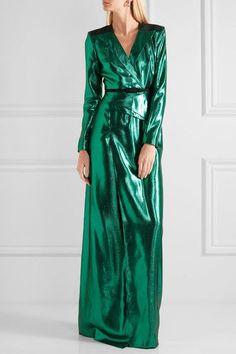 Roland Mouret - Wrap-effect Lamé Gown - Emerald - UK Fashion Forms, Keep Jewelry, Roland Mouret, Favorite Color, Emerald, Wrap Dress, Gowns, Silk, Vestidos