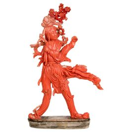 China 19. Jh. Korallen Statue - A Fine Chinese Coral Figure Of A Female Immortal