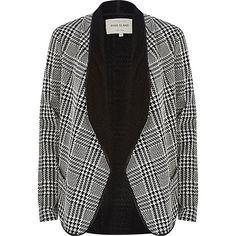 Black and white check waterfall jacket - jackets - coats / jackets - women