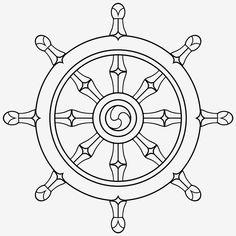 The Wheel of Dharma -- Eightfold Path (symbol of Buddhism): . Buddhist Symbol Tattoos, Buddhism Symbols, Symbolic Tattoos, Hindu Tattoos, Buddha Tattoos, Film Background, Creative Background, Roda Do Dharma, Rune Tattoo