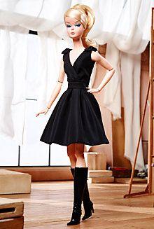 <em>Classic Black Dress</em> Barbie® Doll - FIRST POSEABLE SILKSTONE DOLL - Pinned 2-1-2016.