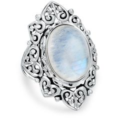 Bling Jewelry Enchanted Moon Ring ($75) ❤ liked on Polyvore featuring jewelry, rings, white, white jewelry, oval ring, white ring, vintage style rings and vintage style jewelry