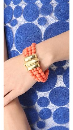 blue, coral + gold. love!