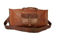 Square Leather Duffel Big   High On Leather