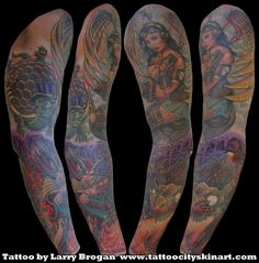 Tattoo City Skin Art- Lockport, IL. Tattoo By: Larry Brogan Steam_Punk_Pinup_Heaven_Hell_Sleeve_Tattoo_by_Larry Brogan