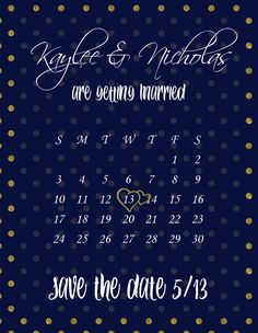 Save the Date, navy blue and gold polka dot, part of a complete invitation set on #etsy