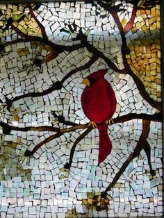 RED BIRD: I had a lot of scrape glass left over from stain glass projects.  I picked up this disgarded window off the side of the curb (someone's trash is another's...well