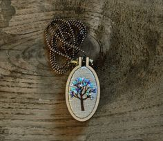hand embroidery oval fiber art pendant necklace  by fricdementol