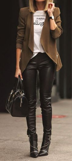 J Brand leather pants with beige cape business casual