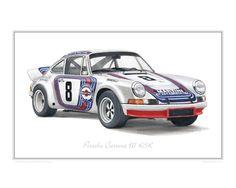 Martini Porsche 911 oil-painted illustration by Steve Dunn