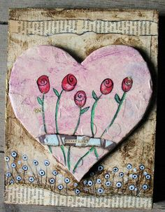 heart with roses and newspaper border