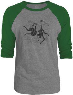Big Texas Playing Monkeys (Black) 3/4-Sleeve Raglan Baseball T-Shirt