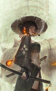 'Ronin' ~female wandering samurai illustration by GUWEIZ (on Deviantart) Samurai Girl, Ronin Samurai, Female Samurai Art, Fantasy Samurai, Samurai Drawing, Samurai Anime, Medieval Fantasy, Samurai Artwork, Character Sketches