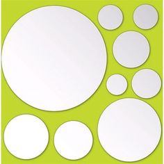 These peel and stick mirror dots add fun dimension to the walls. The set comes with 9 round mirrors in varied sizes. Each Dots Peel & Stick Mirror Art pack comes with 9 pieces on a x sheet. Baby Room Decals, Kids Room Wall Stickers, Wall Decor Stickers, Diy Stickers, Wall Art Decor, Wall Decals, Mirror Decal, Mirror Wall Art, Mirror Mirror