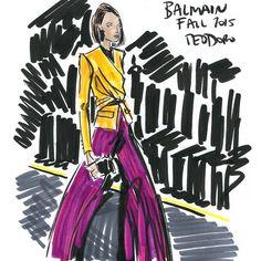 « ReSketch #regram @voguegermany a color power suit at @balmainparis #Balmain #BalmainFW15 #BalmainStory #pfw #fashion #illustration #jourdandunn #color »
