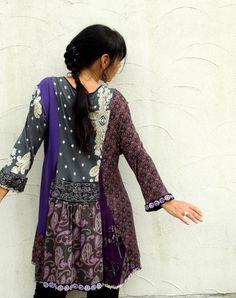Fantasy patchwork dress tunic recycled hippie boho by jamfashion, $92.00