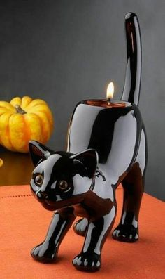 I have this candle holder ,I got it from party lite years ago . It's one of my favorite Halloween pieces because my daughter picked it out when she was little. Crazy Cat Lady, Crazy Cats, Cool Cats, I Love Cats, Photo Chat, Cat Decor, Art Pages, Here Kitty Kitty, Cat Gifts