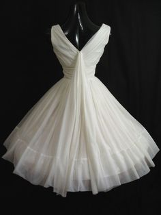 White Ruched Organza Wedding Dress.
