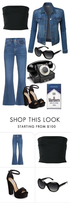 """""""The 70's"""" by dragon-spit-universe ❤ liked on Polyvore featuring M.i.h Jeans, Balmain, Steve Madden, Coach, LE3NO, black, Blue, Heels, sunglasses and decadesweek"""