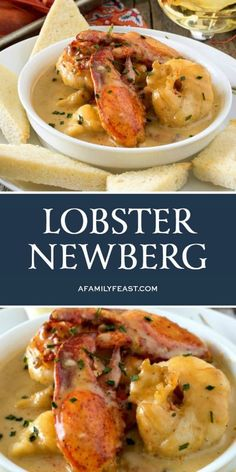 Lobster Newberg has chunks of tender lobster meat in a rich and decadent cognac-cream sauce, served with toast points. It's outstanding! chicken recipes dinners,cooking and recipes Lobster Dishes, Lobster Meat, Fish Dishes, Cooked Lobster, Lobster Tails, Seafood Dinner, Fish And Seafood, Seafood Pot Pie, Seafood Platter