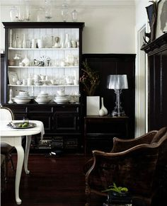 black and leather in the dining room