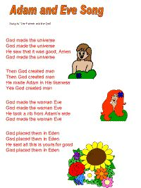 Adam and Eve song color poster Bible Songs For Kids, Preschool Bible Lessons, Bible Crafts For Kids, Bible Study For Kids, Preschool Songs, Sunday School Songs, Toddler Sunday School, Kids Sunday School Lessons, Sunday School Activities
