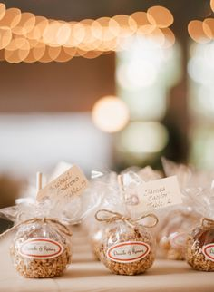 Fall Connecticut Wedding - caramel apples for each guest/seating card/favor