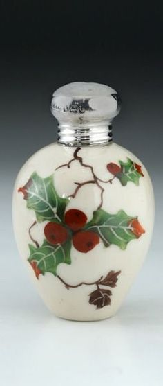 1907 porcelain scent perfume bottle with hand painted holly motif silver top