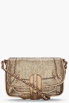 Jerome Dreyfuss Gold Snakeskin-printed Jojo Bag for women | SSENSE