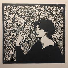 Jane Morris. Linogravure. #linogravure #linocutprint #linocut #linocutprinting #linoprint #linoprinting #reliefprinting #reliefprint… Linocut Prints, Art Prints, Collages, Gravure Illustration, Scratchboard Art, Street Art, Morris, Linoprint, Art Graphique