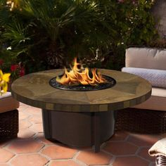 American Fire Products Carmel Chat Height Round Tile Top Gas Fire Pit - AFP-CAR-RDSLATE-42